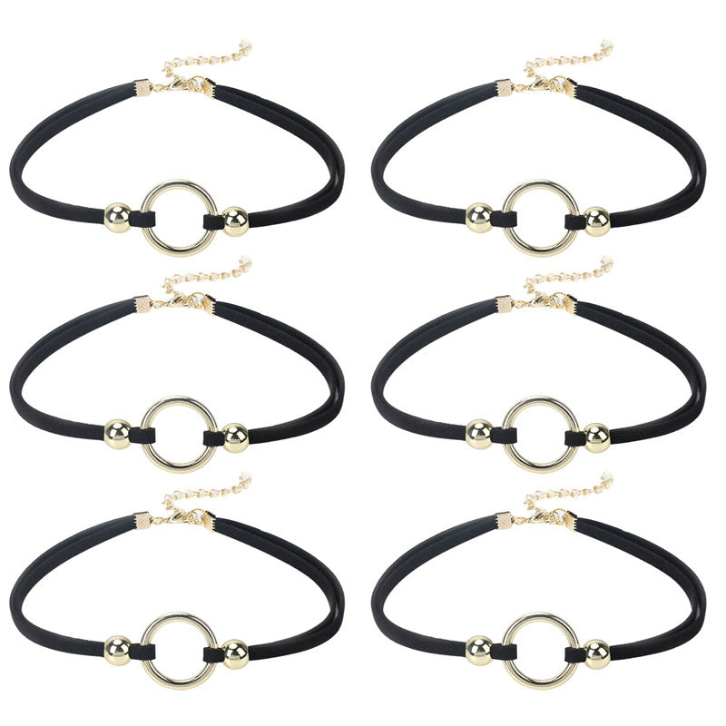 6 PCS 0.2 Inch Choker Necklace Black Velvet Choker Sets