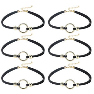 0.2 Inch 6 PCS Choker Necklace Black Velvet Choker Set