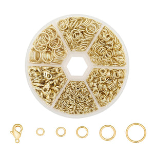 1350 PCS 1 Box 14K Gold Solid Brass Open Jump Rings and Lobster Clasps Box