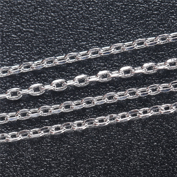 6 PCS 18 Inch 1MM Silver Plated Brass Cable O Chain