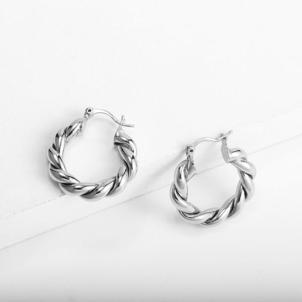 Chunky Twisted Hoop Earrings
