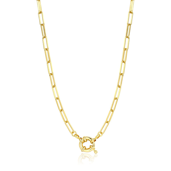 14K Gold Plated Paperclip Link Chain With Trendy Spring Clasp