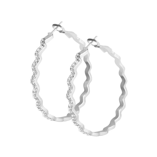 Diamond Wavy Hoop Earring