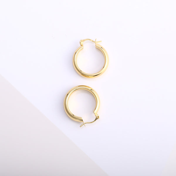 Flat Tube Hoop Earrings 25mm