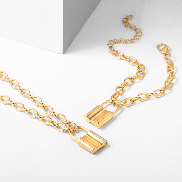 Padlock Pendant Necklace and Bracelet Jewelry Sets