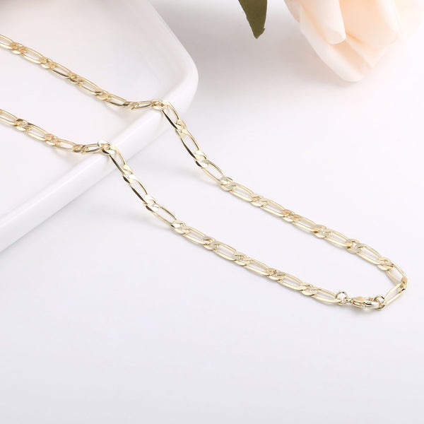 1PCS 14K Gold Plated Flat Figaro Chain Necklace