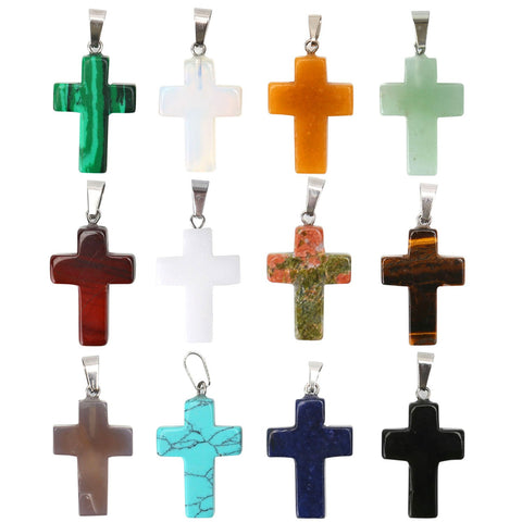 12PCS Assorted Natural Quartz Healing Cross Quartz Crystal Pendant
