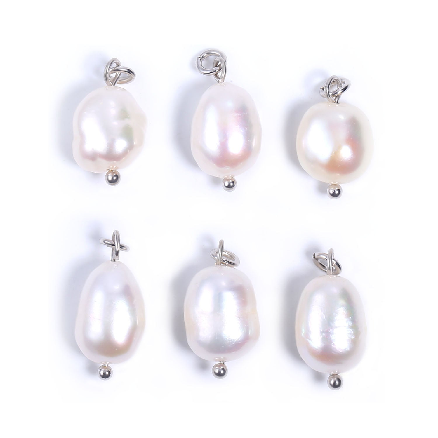 6 PCS Silver Color Freshwater Baroque Pearl Charms Pendant
