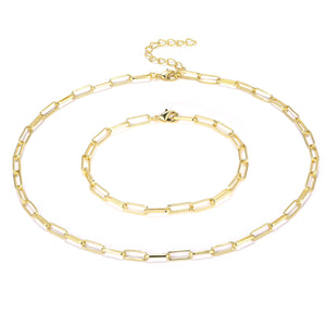 14K Gold Plated Paper Clip Chain Necklace and Bracelet Set