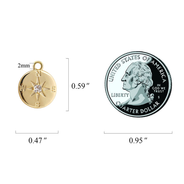 4PCS 14K Gold Plated Brass Disc Zircon Compass Pendant