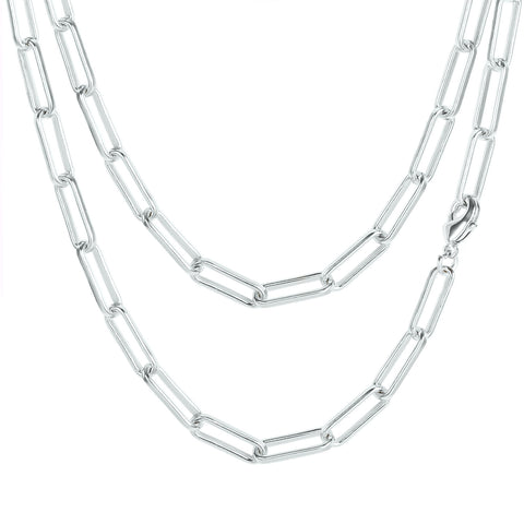 Shinny Silver Plated Paperclip Chain Necklace, 24 Inches