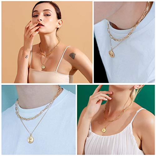 Set of 2 Gold Layered Necklaces Link Coin Pendant