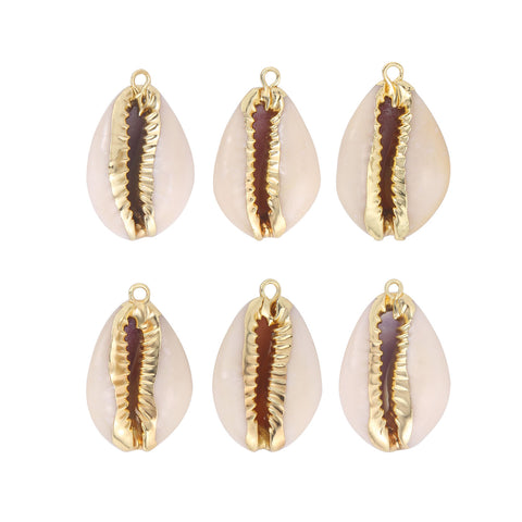 6 PCS Natural White Cowrie Sea Shells Pendants