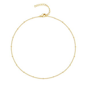 12PCS Gold Plated Solid Brass Satellite Chain Choker Necklace