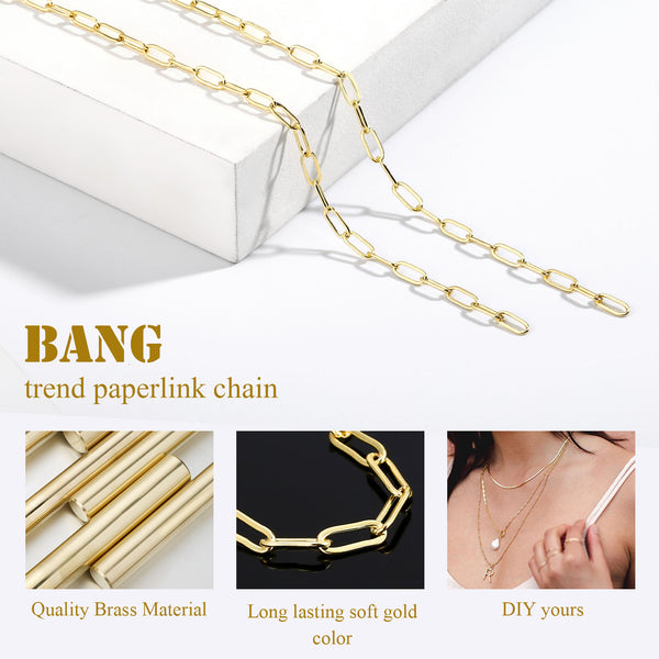 24FT 14K Paperclip Raw Chains