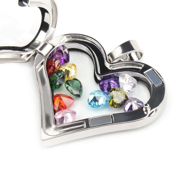 24PCS Crystal Glass Heart 5MM Birthstones Floating Charms