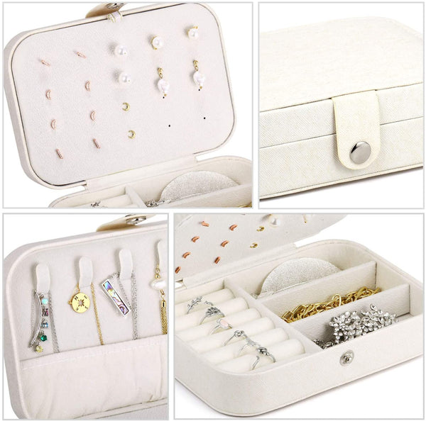 2PCS Leather Travel Organizer Jewelry Holder Case Layer Jewelry Box