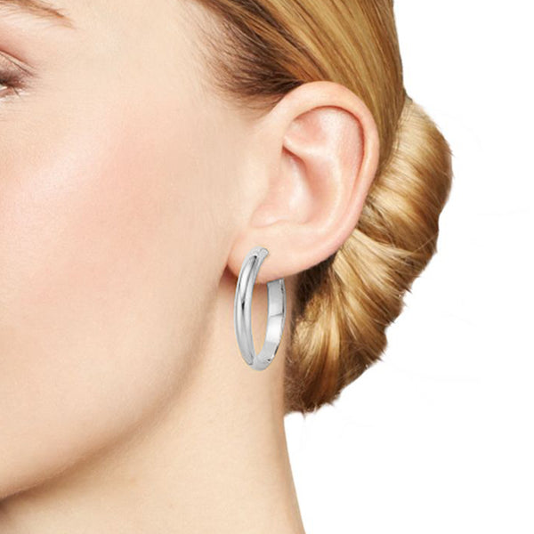 Flat Tube Hoop Earrings 35mm