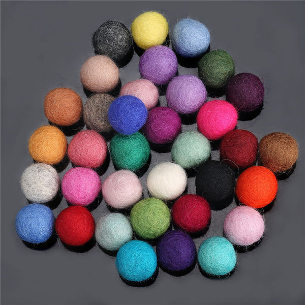 35PCS 2cm Multicolored Natural Wool Felt Ball
