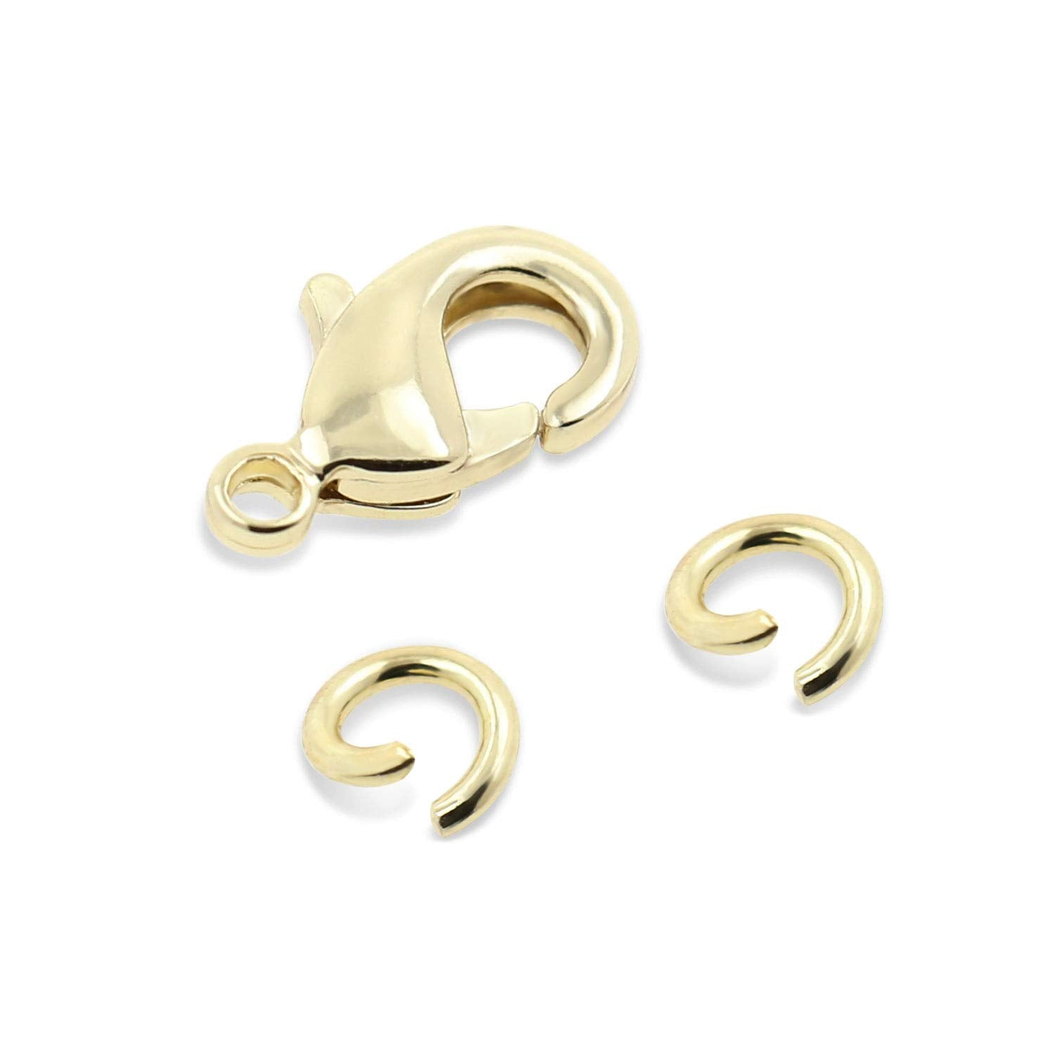 18K Gold 50 PCS 9mm Small Lobster Clasps and 100 PCS 4mm Open Jump Rings