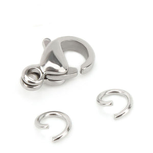 Stainless Steel 50 PCS 9mm Small Lobster Clasps and 100 PCS 4mm Open Jump Rings Set