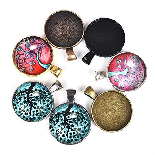 84 PCS Pendant Trays Round Bezel Blanks Glass Cabochons (7 Colors)