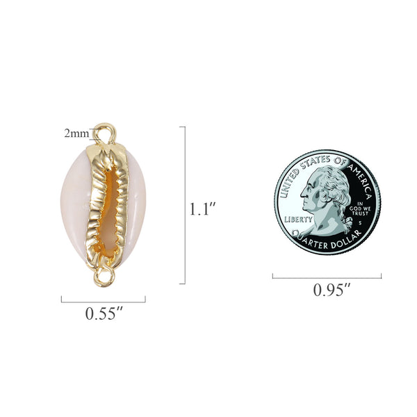 6 PCS Natural Cowrie Sea Shells Connector Charms
