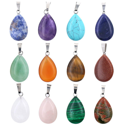 12 PCS Assorted Real Quartz Stone Water Drop Pendant