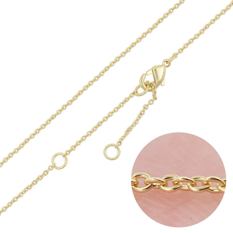12 PCS 14K Real Gold Plated Solid Brass Thin O Chain