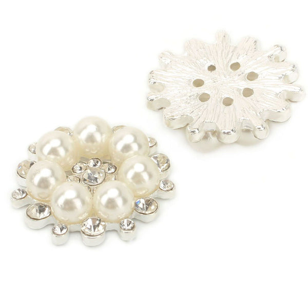12 PCS Vintage Flatback Faux Pearl Flower Buttons Sew Embellishment 28MM