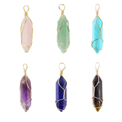 6 PCS Handmade Wire Wrapped Natural Quartz Crystal Pendant