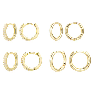 4 Pairs 14K Gold Small Hoops