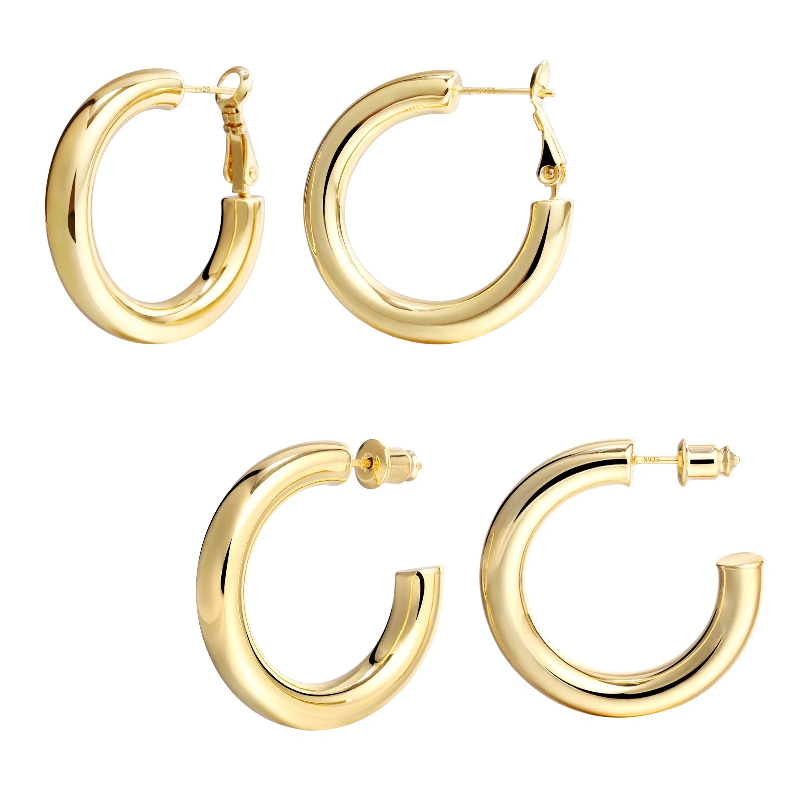 2 Pairs 14K Gold Plated Chunky Hoop Earrings