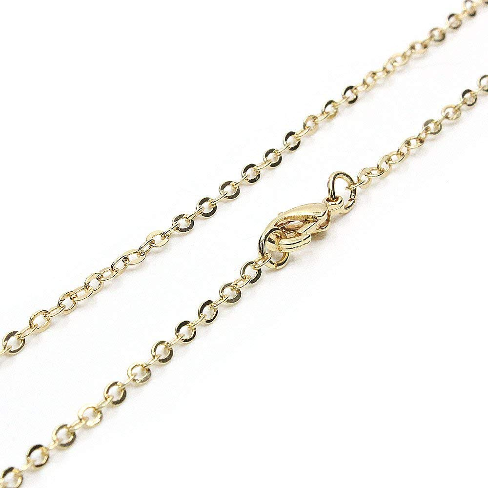 120PCS Gold Plated Brass Cable Chains for Jewelry Making 18-30 inch