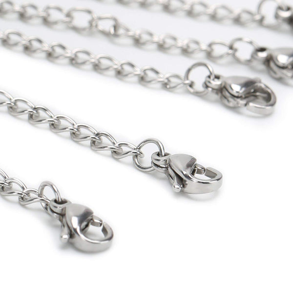 12 PCS Stainless Steel Chain Extender with 2 Lobster Claw Clasps