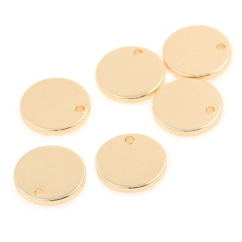 24 PCS 12MM Gold Plated Brass Round Blank Stamping Tags 16 GA