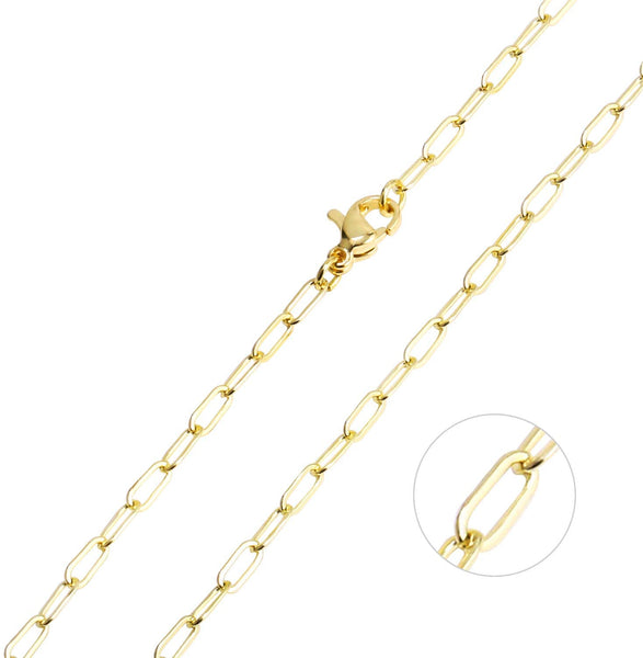 "6 PCS 14K Gold Plated Oval Paperclip Chain Necklace (18"")"