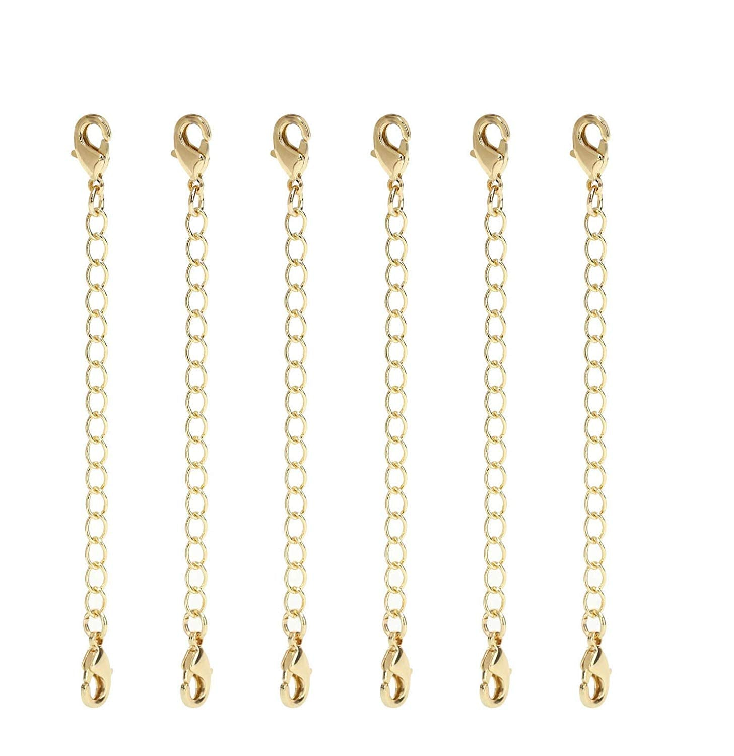 12 PCS 2 Inch Gold Plated Brass Curb Chain Extender with 2 Lobster Claw Clasps
