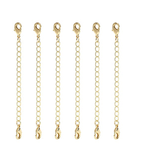 12 PCS Gold Plated Brass Curb Chain Extender with 2 Lobster Claw Clasps