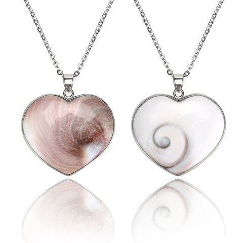1 PCS Natural Shell Heart Shiva Third Eye Pendant With 3PCS Free Chains