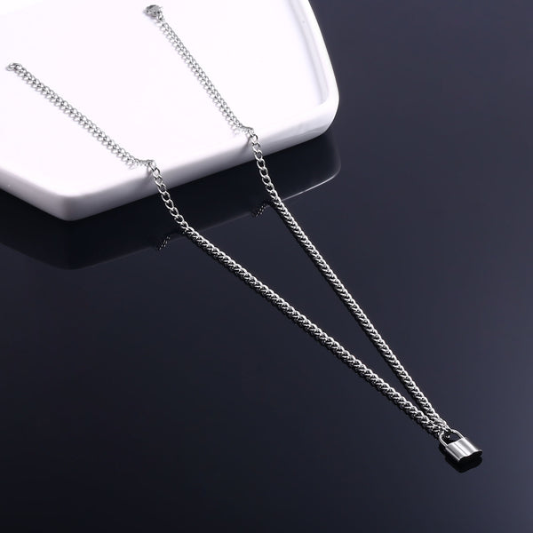 High Polish 316 Stainless Steel Padlock Pendant Y Necklace