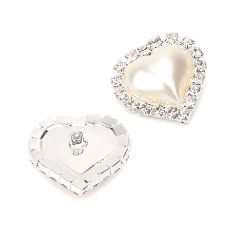 20 PCS Ivory Heart Rhinestone Faux Pearl Embellishments Shank Buttons