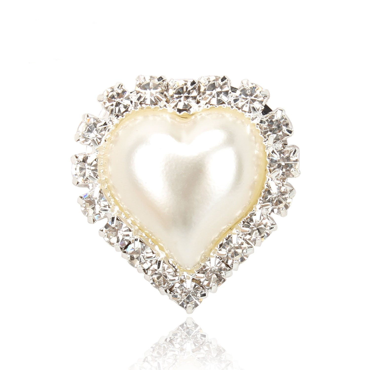 20 PCS Vintage Faux Pearl Heart Embellishments Button Bulk Flatback 21mm x 23mm
