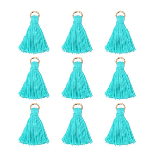 100 PCS 0.98' (25 mm) Aqua Blue Mini Tassel Charms