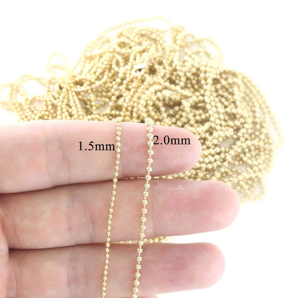 "12PCS Gold Plated Brass Bead Ball Chains 18-24 Inches (18"" (1.5MM))"