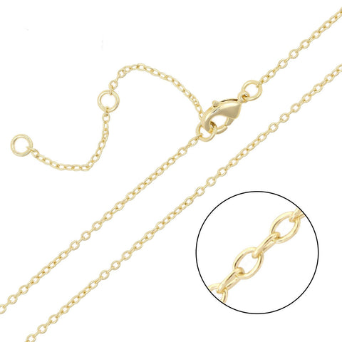12 PCS Gold Plated Solid Brass O Chains with Extension Chains 16-18 inch, 1.5MM