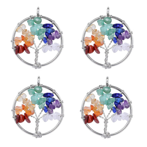 4 PCS Tree of Life Charm Natural Quartz Pendant 7 Chakra Pendant