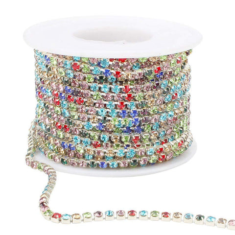 10Yard 3MM Multi Color Crystal Rhinestone Chain Spool