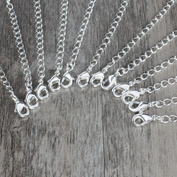 12 PCS 2 inches Silver Plated Brass Chain Extender with 2 Lobster Claw Clasps