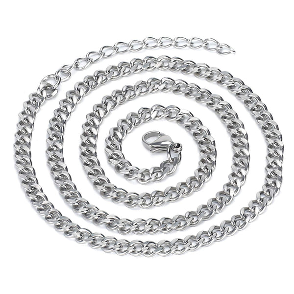 6PCS 5 MM 20 Inch Stainless Steel Curb Men Chains with 2 inch Extender Chain